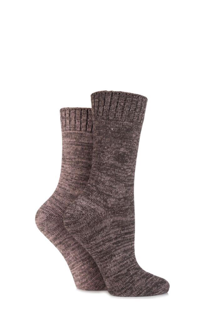 Ladies 2 Pair SockShop Super Soft Marl Boot Socks