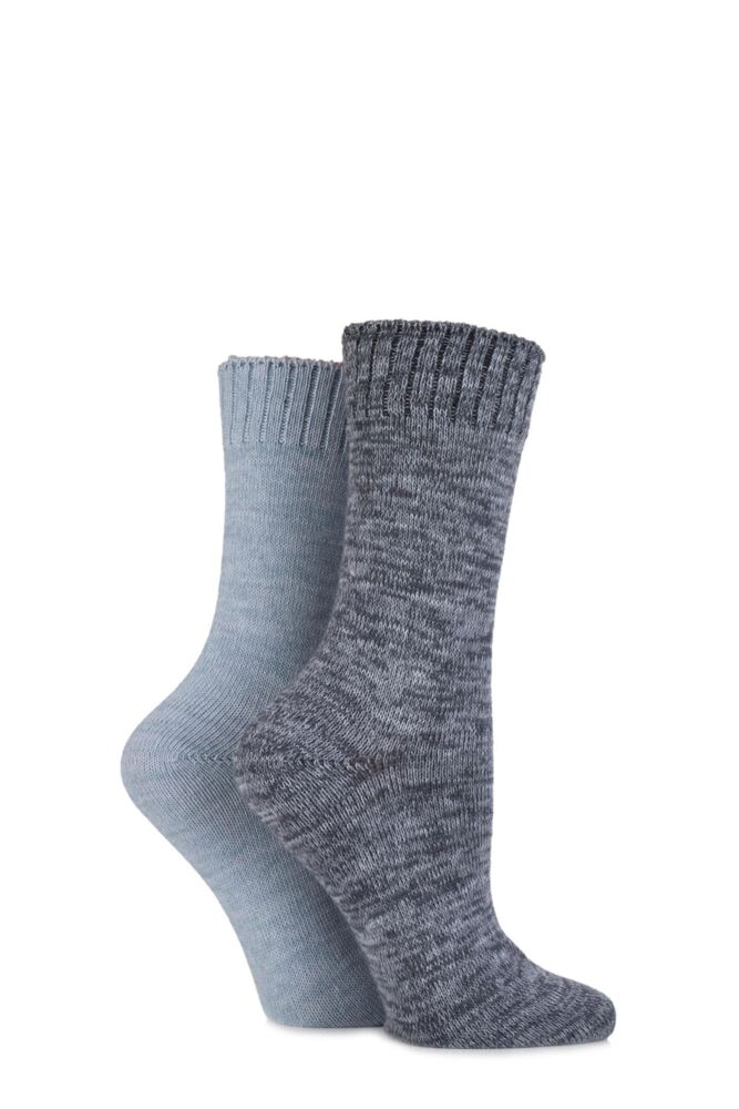 Ladies 2 Pair SockShop Super Soft Marl Boot Socks
