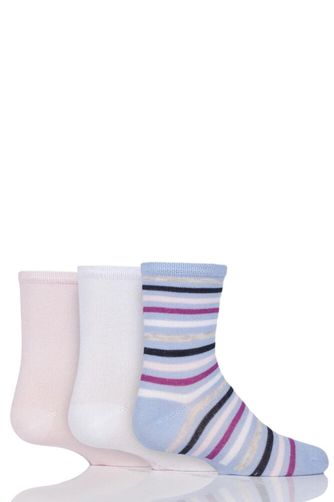 Babies and Kids 3 Pair SockShop Plain and Stripe Bamboo Socks with Smooth Toe Seams