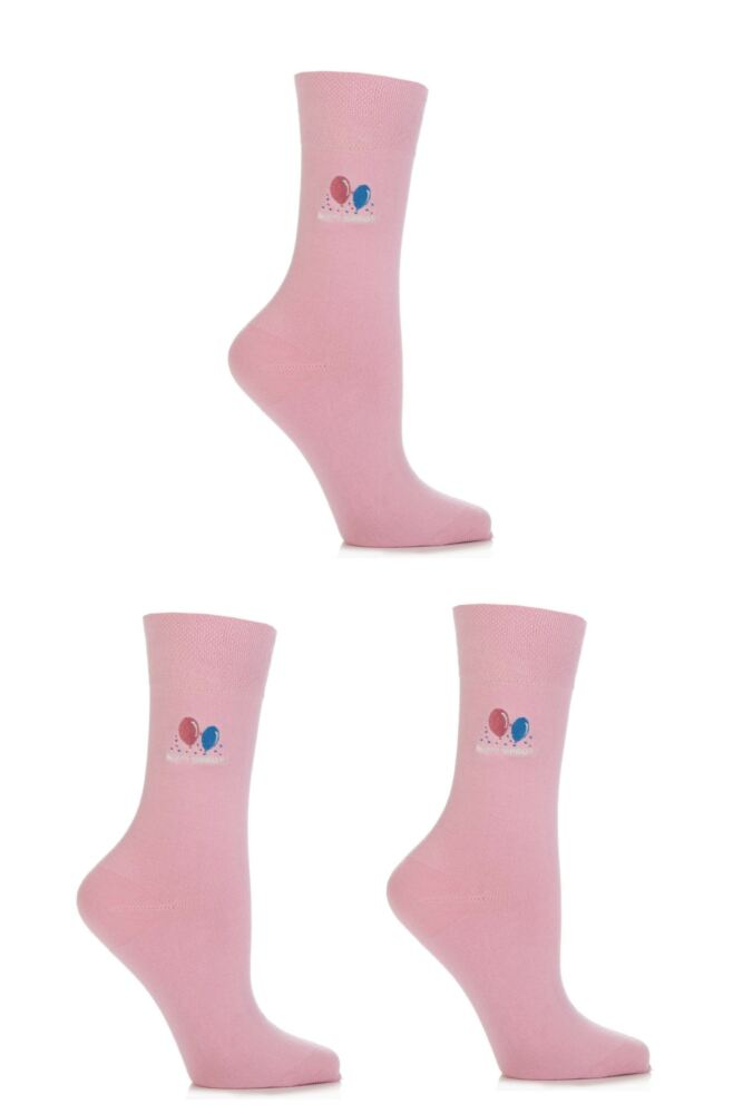 Ladies 3 Pair SockShop Embroidered Happy Birthday Cotton Socks