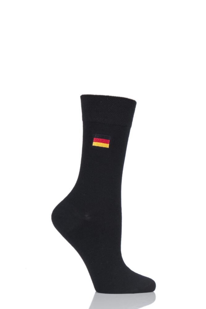 Ladies 1 Pair SockShop Individual Nations Black Embroidered Socks - 16 To Choose From