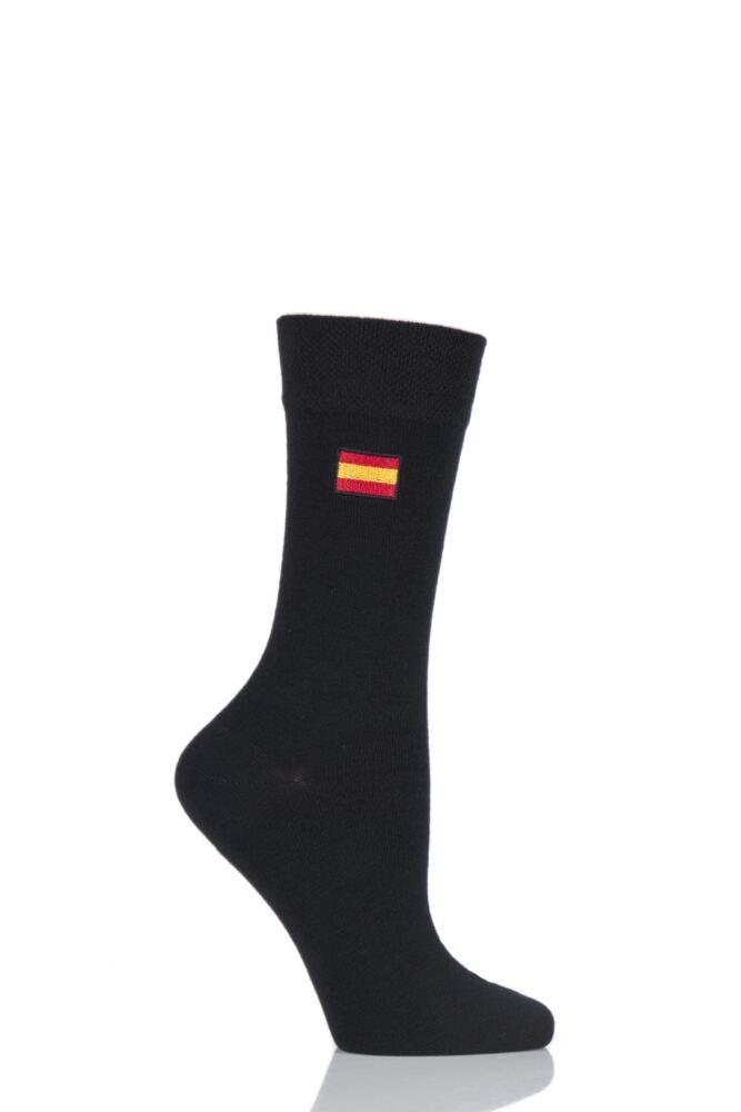 Ladies 1 Pair SockShop Individual Nations Black Embroidered Socks - 16 To Choose From