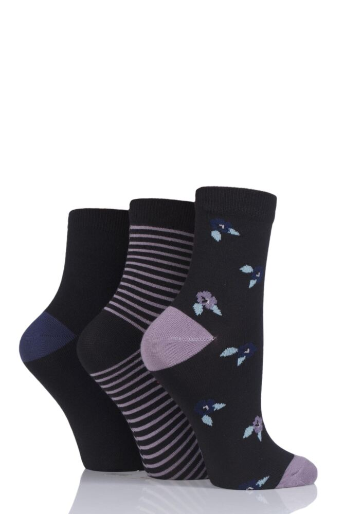 Ladies 3 Pair SockShop Velvet Soft Floral Stripe and Plain Socks