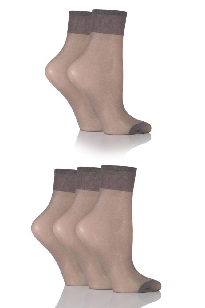 Ladies 5 Pair SockShop 15 Denier Ankle Highs