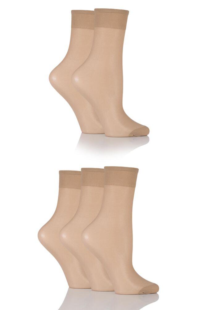 Ladies 5 Pair SockShop 15 Denier Ankle Highs