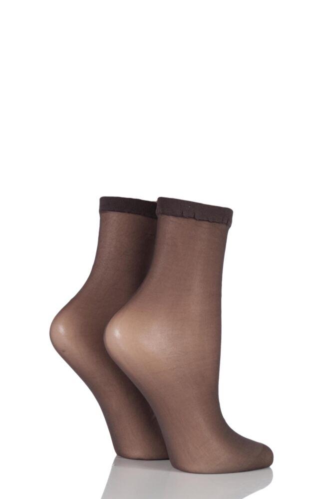 Ladies 2 Pair SockShop 10 Denier Classic Nylon Ankle Highs