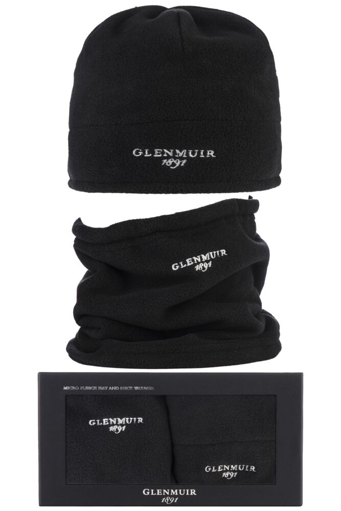 Mens 2 Pack Glenmuir Gift Boxed Micro Fleece Hat and Neck Warmer Set