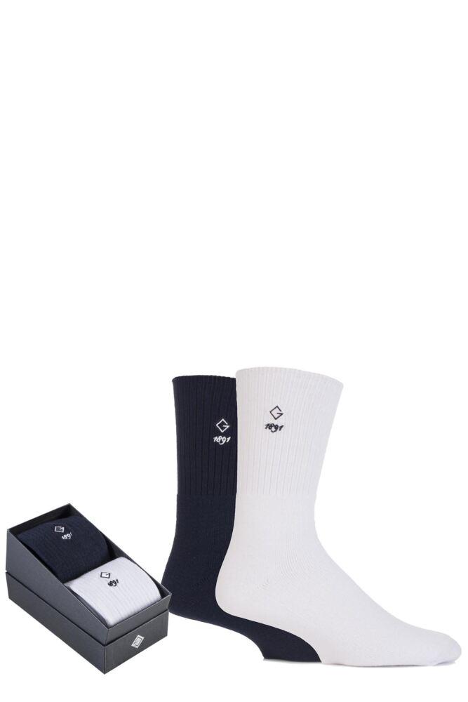 Mens 2 Pair Glenmuir Comfort Cuff Cushioned Golf Socks Gift Box