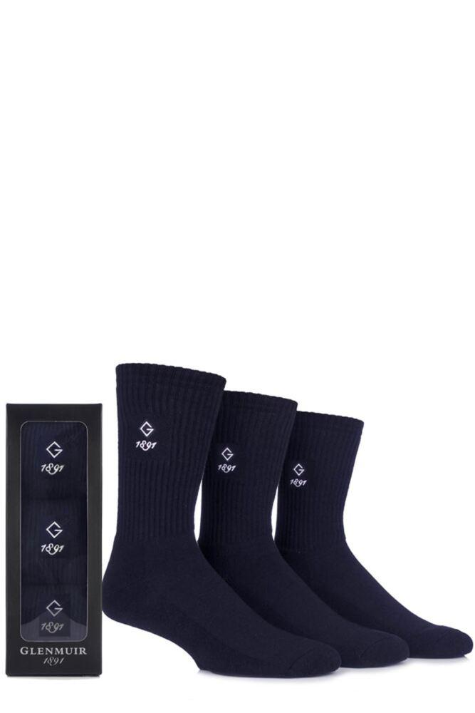 Mens 3 Pair Glenmuir Gift Boxed Plain Cotton Socks
