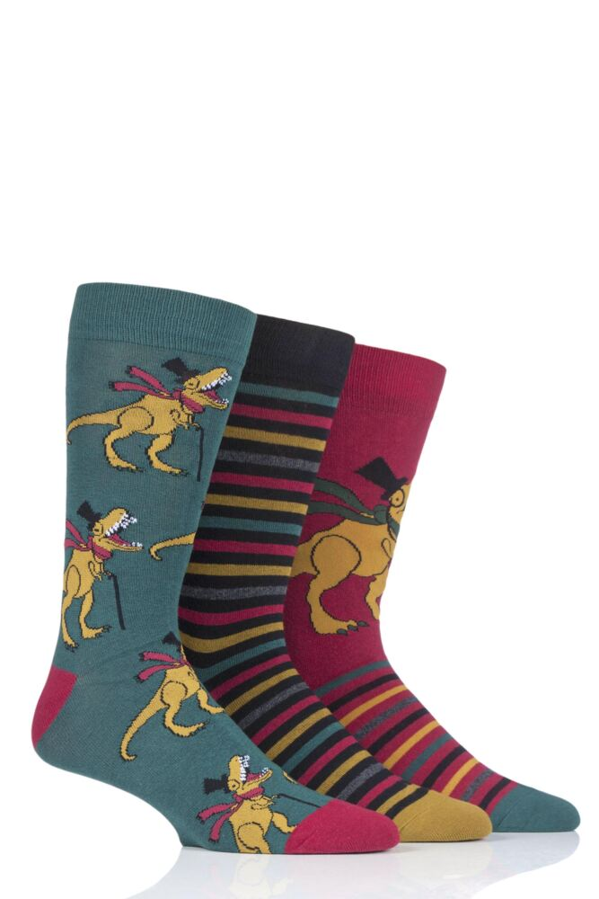 Mens 3 Pair SockShop Wild Feet T-Rex Novelty Cotton Socks