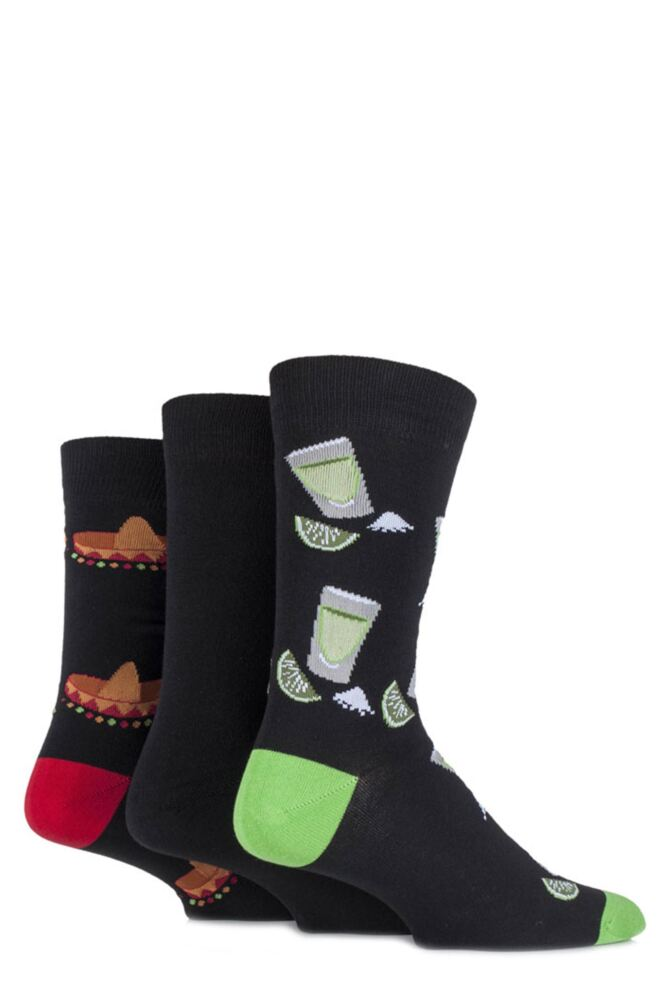 Mens 3 Pair SockShop Just for Fun Mexican Sombrero and Tequila Novelty Cotton Socks