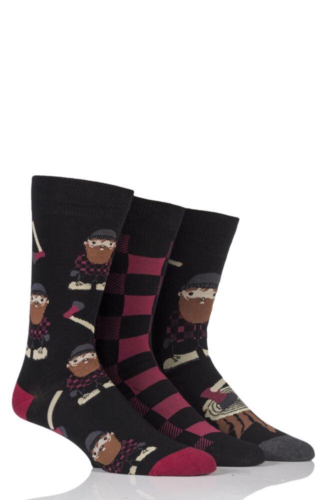 Mens 3 Pair SockShop Just For Fun Lumberjack Novelty Cotton Socks