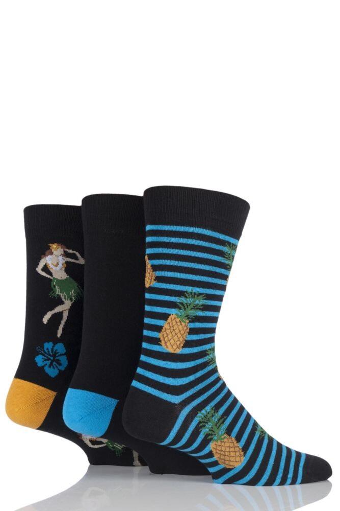 Mens 3 Pair SockShop Just For Fun Pineapple Novelty Cotton Socks