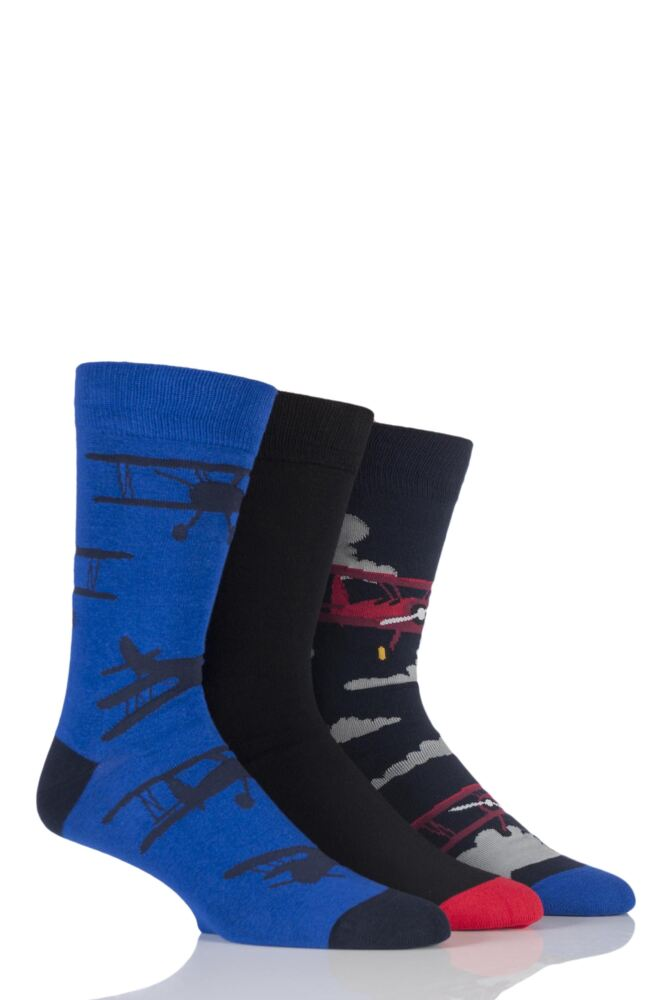 Mens 3 Pair SockShop Just For Fun Plane Novelty Cotton Socks