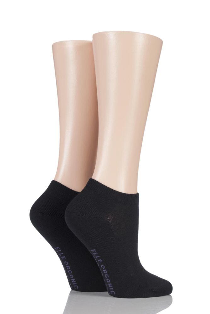 Ladies 2 Pair Elle Plain Organic Cotton Trainer Socks