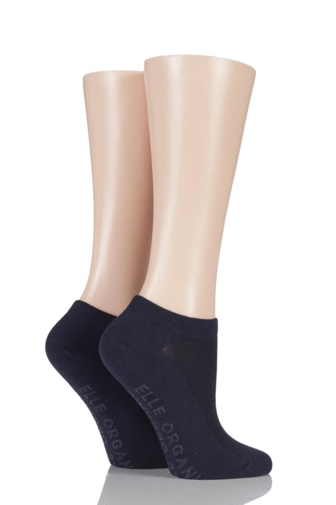 Ladies 2 Pair Elle Plain Organic Cotton Trainer Socks