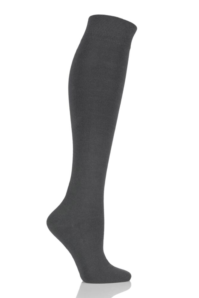 Girls and Boys 1 Pair SockShop Plain Bamboo Knee High Socks with Comfort Cuff and Handlinked Toes