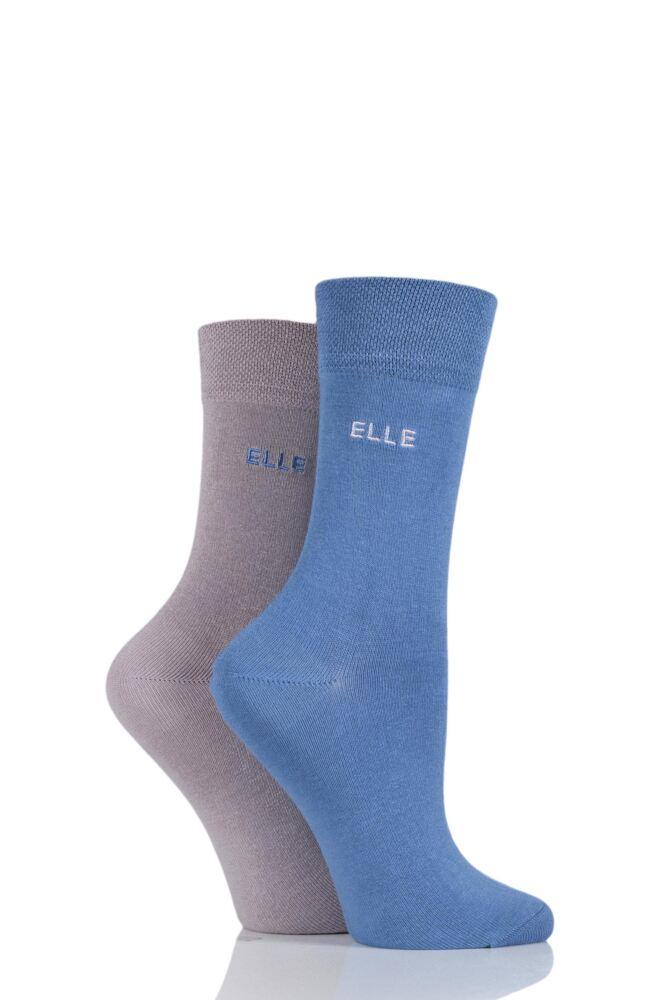 Ladies 2 Pair Elle Plain Bamboo Fibre Socks