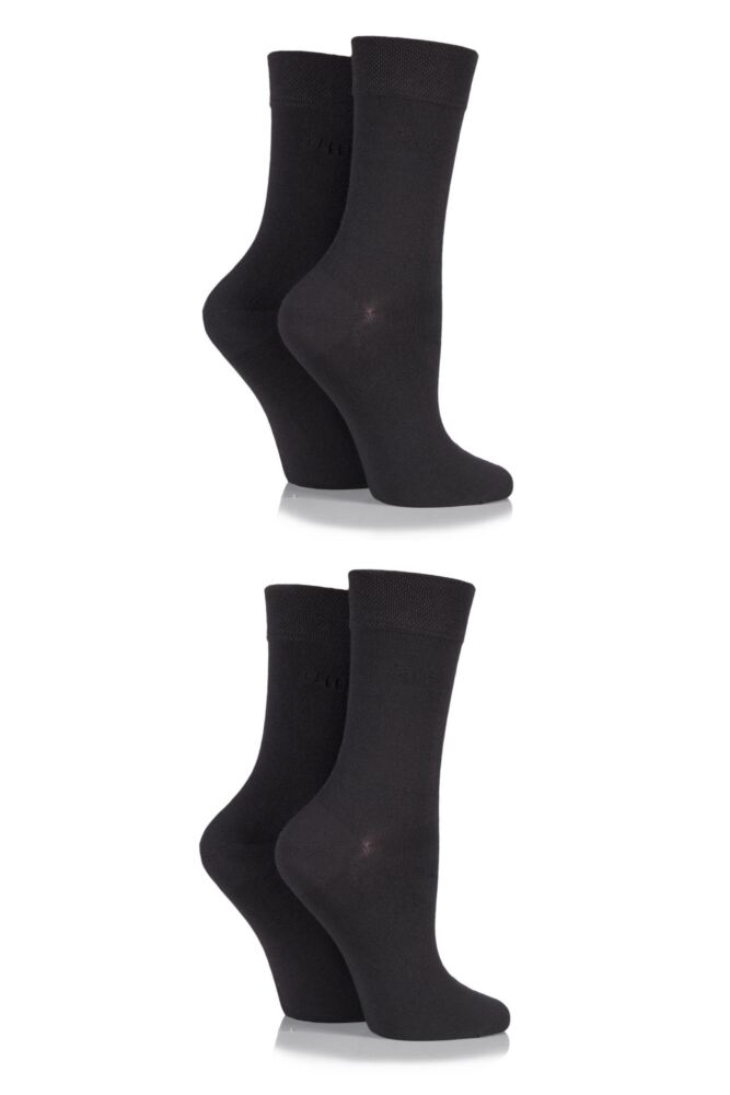 Ladies 4 Pair Elle Plain Bamboo Fibre Socks