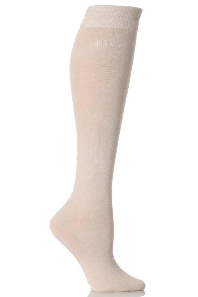 Ladies 2 Pair Elle Plain Bamboo Knee Highs In 5 Colours