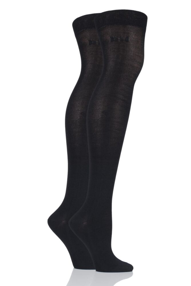 Plain Over The Knee Socks - Black