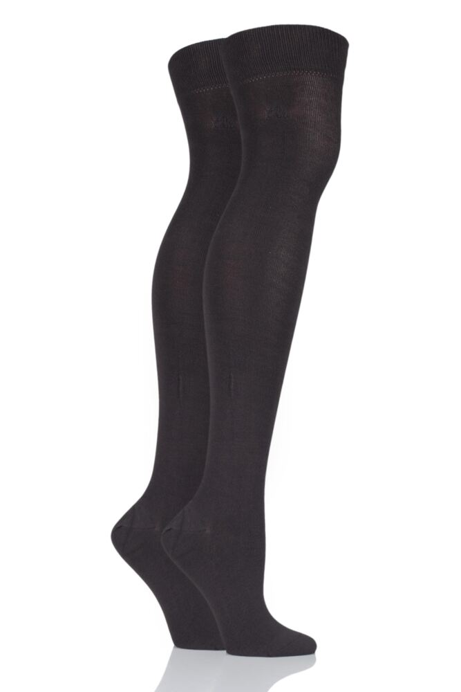 Plain Over The Knee Socks - Cocoa