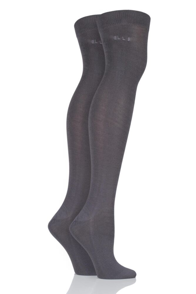 Plain Over The Knee Socks - Grey