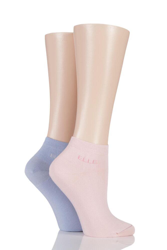 Ladies 2 Pair Elle Plain Bamboo No Show Socks