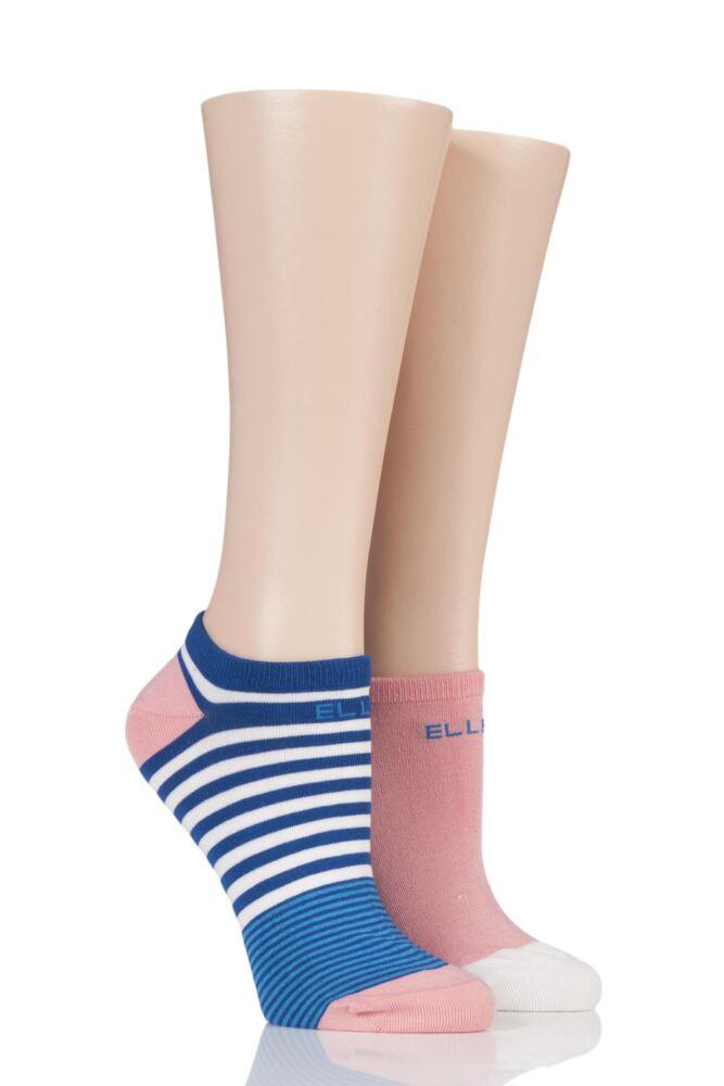Ladies 2 Pair Elle Striped Bamboo No-Show Socks