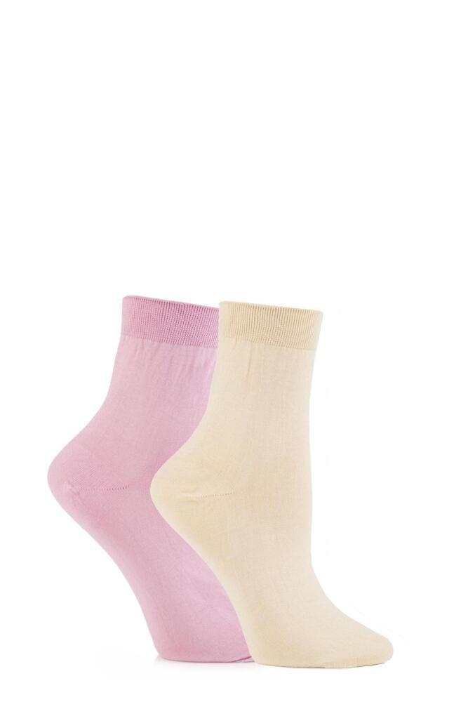 Ladies 2 Pair Elle Pearl Cotton Anklets