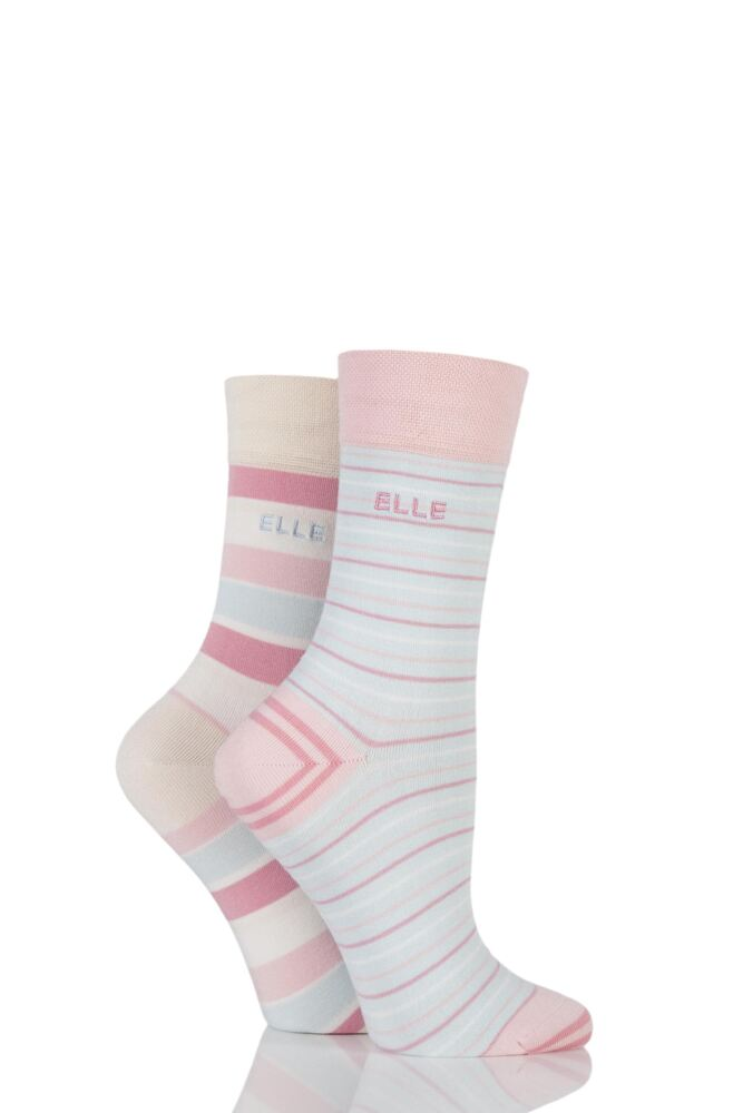 Ladies 2 Pair Elle Striped Bamboo Socks with Comfort Cuff