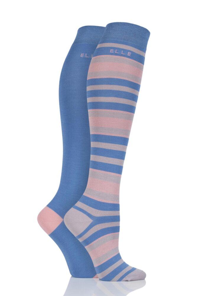 Ladies 2 Pair Elle Bamboo Striped and Plain Knee High Socks