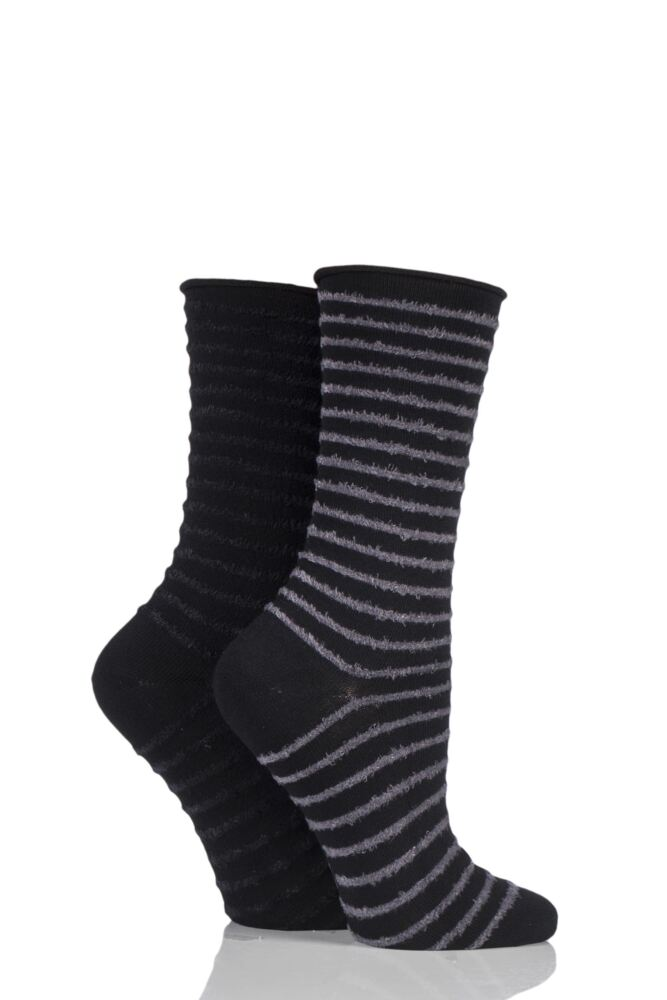 Feather Striped Socks - Slate / Black