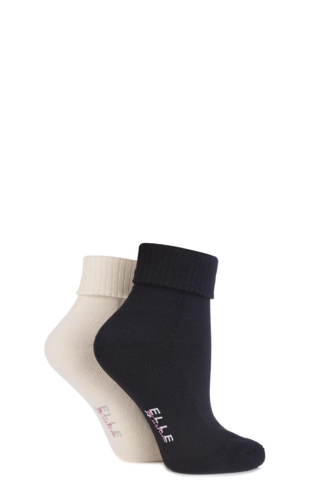 Ladies 2 Pair Elle Bamboo Ankle Socks With Cushion Sole