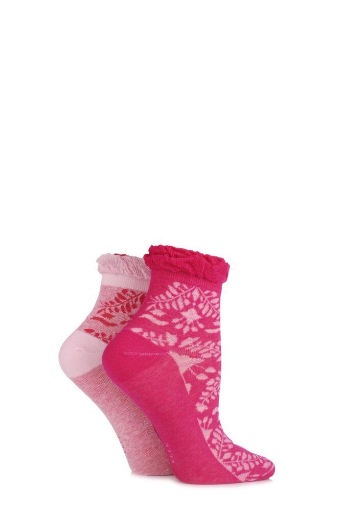 Ladies 2 Pair Elle Dainty and Delicate Floral Ankle Socks