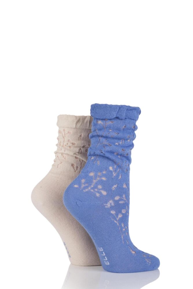 Ladies 2 Pair Elle Lacy Bamboo Anklet Socks