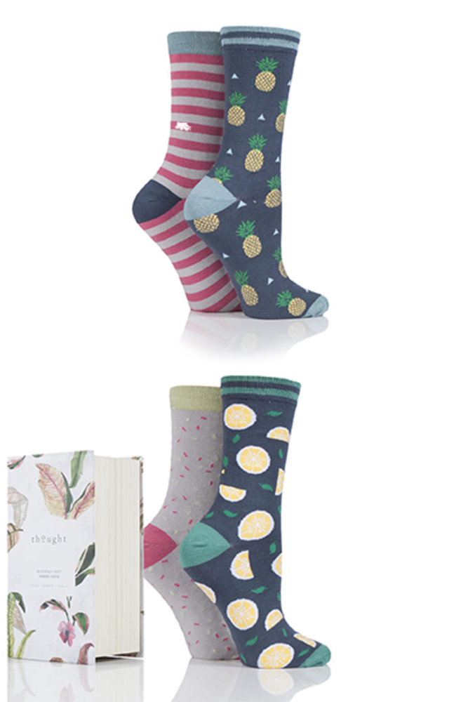 Thought Catalina Stripe and Spots Bamboo Socks In Gift Box