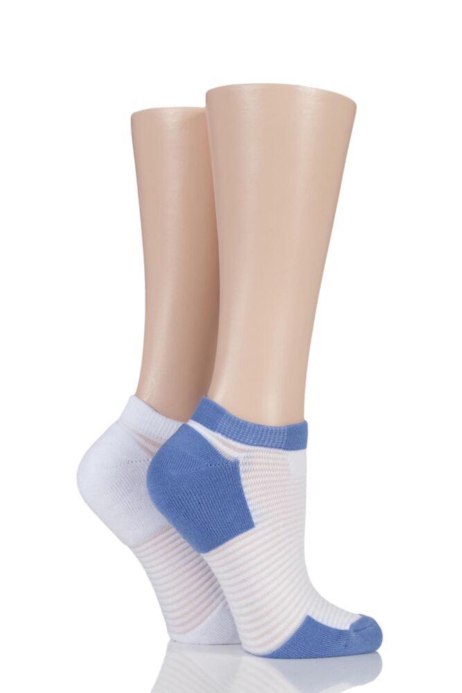 Ladies 2 Pair Elle Bamboo Sheer Stripe Cushioned Heel and Toe No-Show Socks