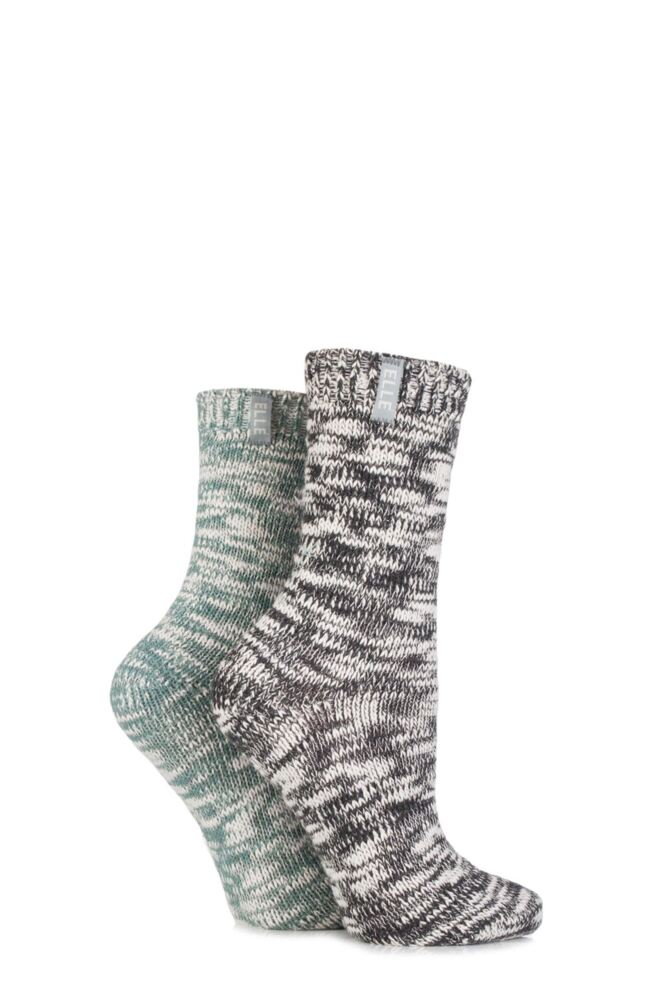 Ladies 2 Pair Elle Twisted Knit Boot Socks