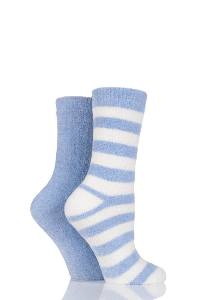 Ladies 2 Pair Elle Striped Chenille Boot Socks