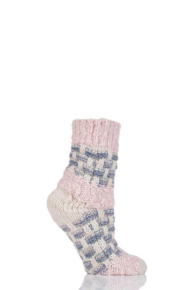 Ladies 1 Pair Elle Basket Weave Slipper Socks