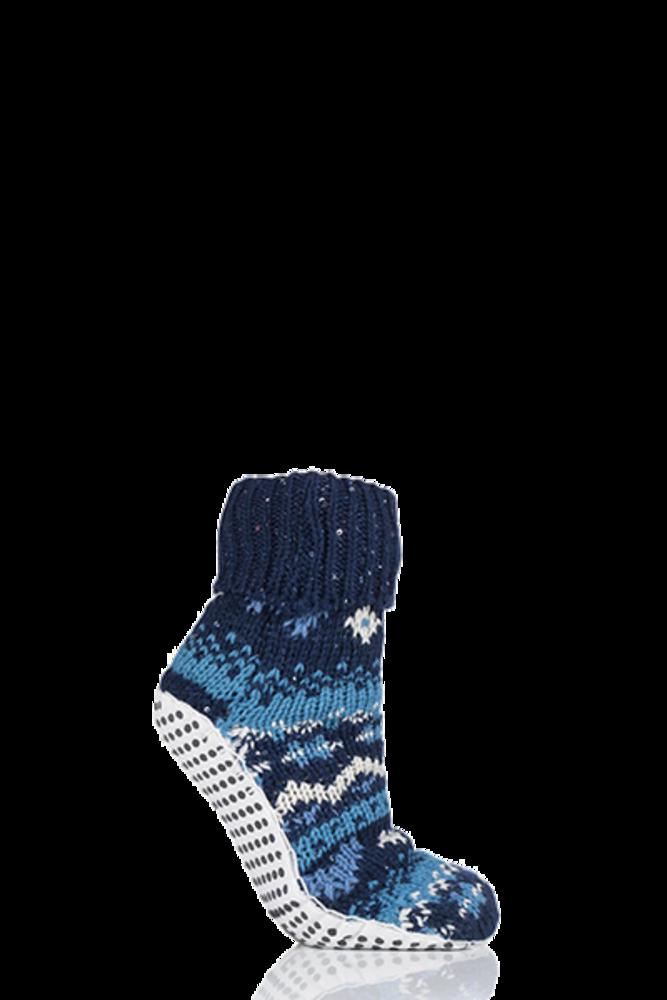 Elle Chunky Fair Isle Moccasin Grip Socks Midnight