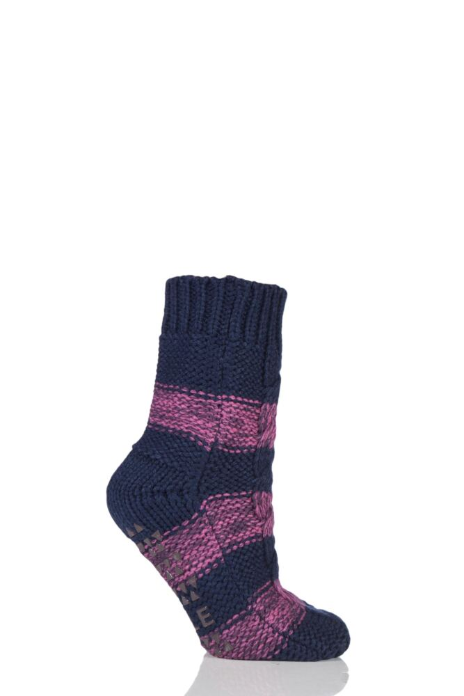 Ladies 1 Pair Elle Striped Cable Knit Slipper Socks with Grip