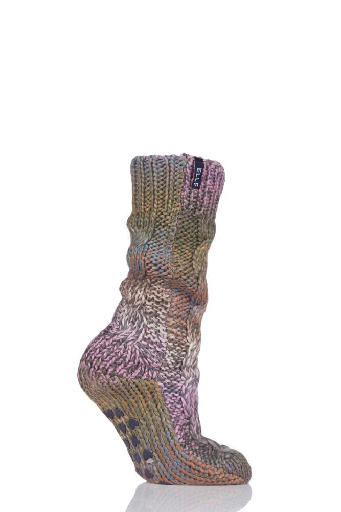 Ladies 1 Pair Elle Space Dye Slubby Cable Slipper Socks