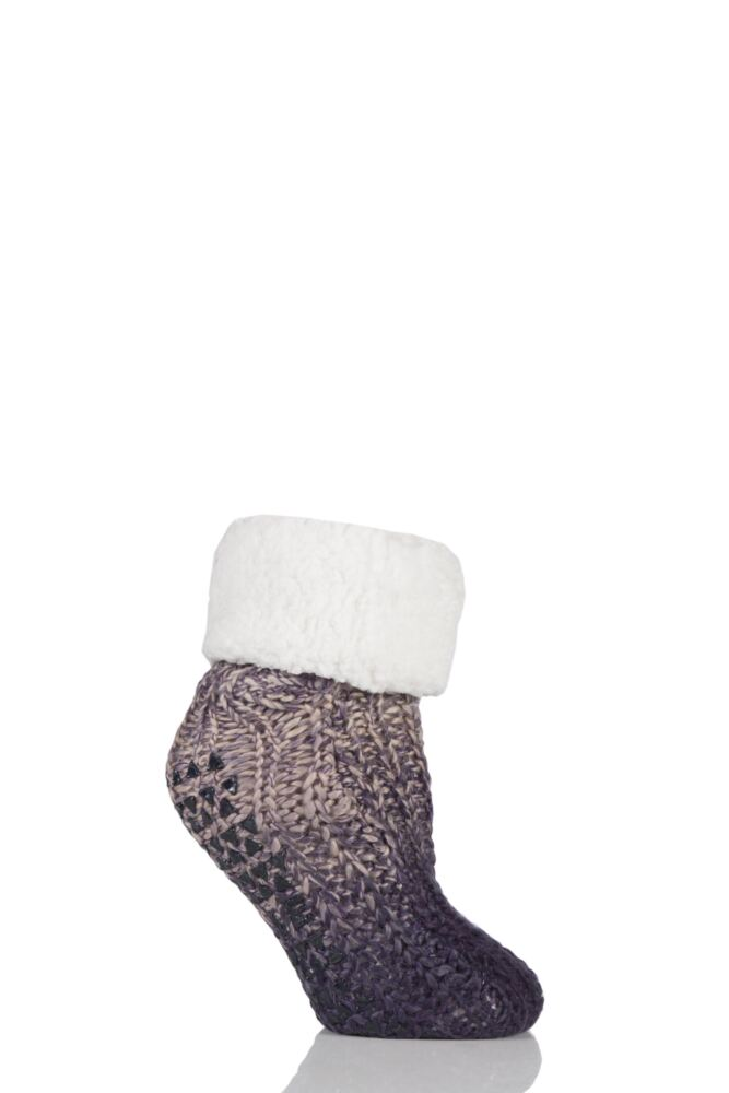 Ladies 1 Pair Elle Space Dye Booties with Cosy Lining and Turn Over Top