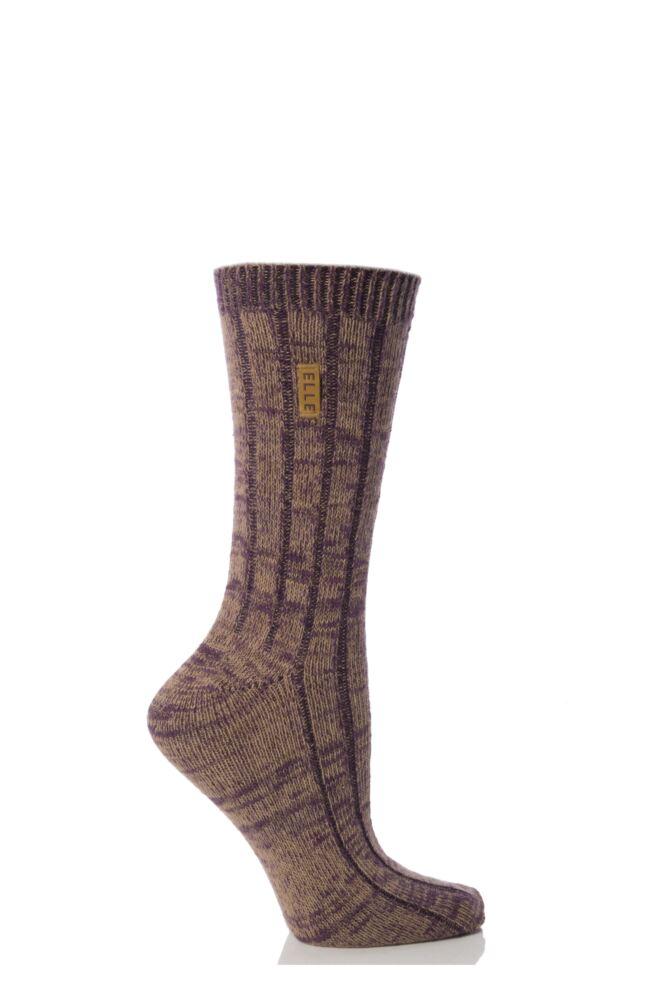 Ladies 1 Pair Elle Mixed Mouline Ribbed Boot Socks