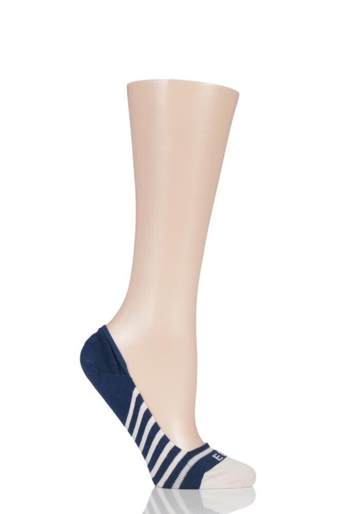 Ladies 1 Pair Elle Striped Seamless Bamboo Shoe Liner Socks