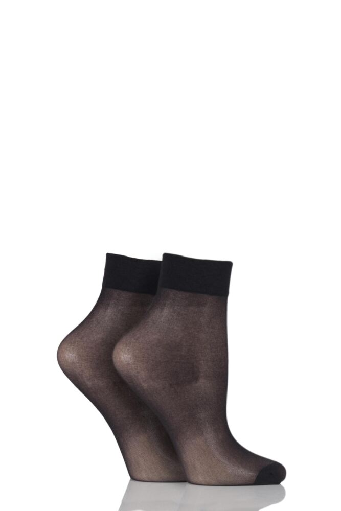 Ladies 2 Pair Elle 15 Denier Ankle Highs With Comfort Cuff