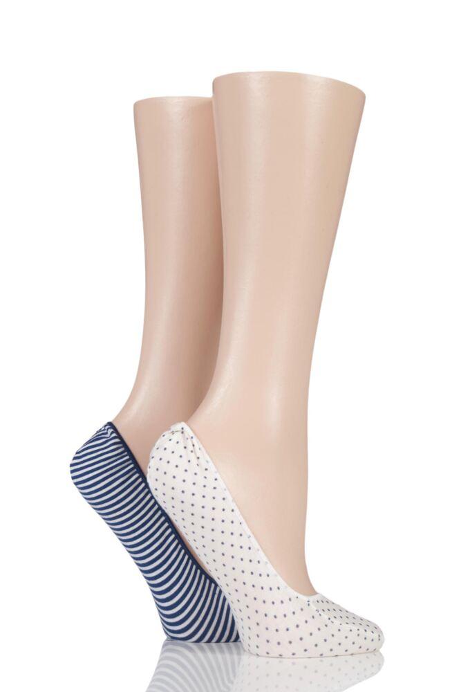 Ladies 2 Pair Elle Stripe and Spot Shoe Liner Socks