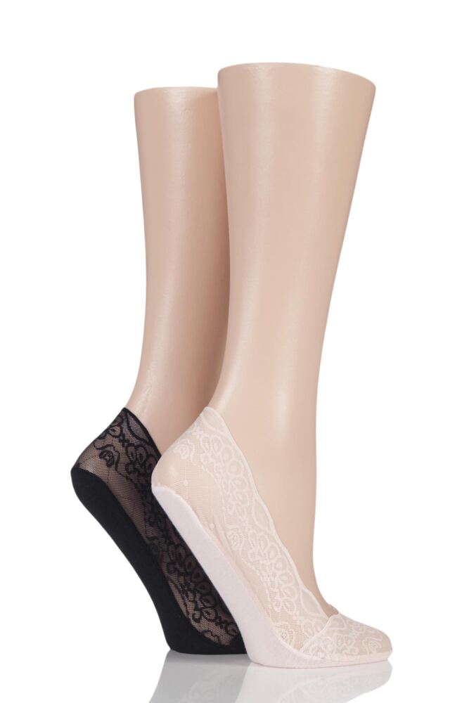 Ladies 2 Pair Elle Lace Shoe Liner Socks with Grip